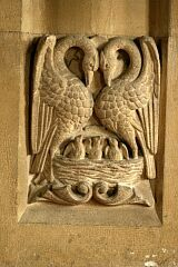 Pair of swans/pelicans, Newbold Verdon church  © Leicestershire County Council
