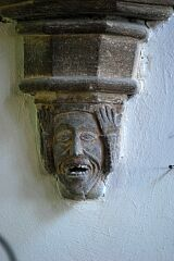 Label stop in form of screaming man, St Peter's Church, Tilton on the Hill  © Leicestershire County Council