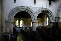 Reconstructed Norman arches, St Peter's Church, Allexton  © Leicestershire County Council